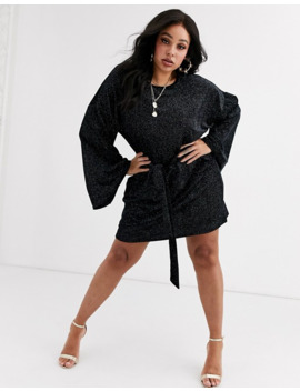 Pretty Little Thing Plus Velvet Glitter Dress With Tie Waist And Bell Sleeves In Black by Pretty Little Thing