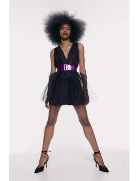 Tulle Dress With Belt by Zara