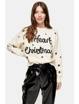 Knitted 'I Heart Holiday' Sweater by Topshop