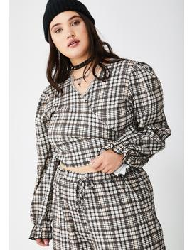 Plus Traditional Check Wrap Blouse by New Girl Order