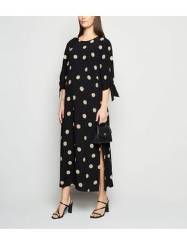 Maternity Black Spot Tie Sleeve Midi Dress by New Look