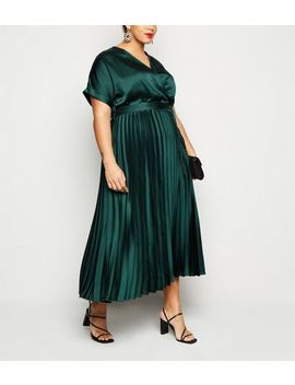 Curves Dark Green Satin Pleated Midi Dress by New Look