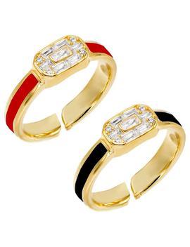 Enamel Baguette Ring Combo Set by Adina's Jewels
