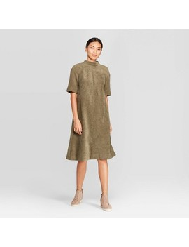 Women's Elbow Sleeve Mock Turtleneck Corduroy Dress   Prologue™ Olive by Prologue