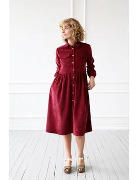 Corduroy Dress/Cotton Dress/Needlecord Shirt Dress In Red Pear/Velvet Dress/Offon Clothing by Etsy
