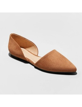 Women's Rebecca Microsuede Pointed Ballet Flats   A New Day™ Cognac by A New Day