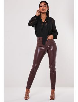 Wine Faux Croc Slim Leg Pants by Missguided