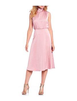Mock Neck Satin Blouson Midi Dress by Maggy London