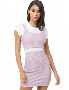 Ribbed Pinstriped Crop Top & Skirt Set by Forever 21