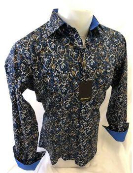 Mens Premiere Long Sleeve Button Down Dress Shirt Colorful Paisley Designer 100 N by Premiere