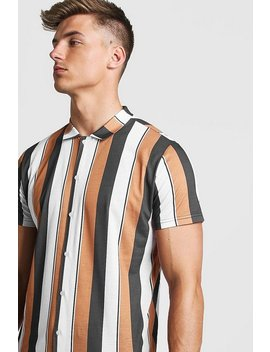 Mustard Short Sleeve Stripe Shirt by Boohoo Man