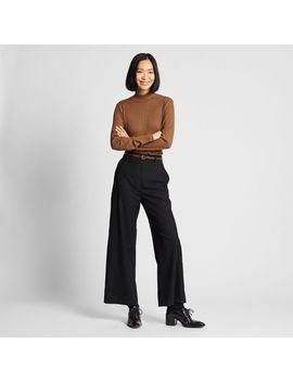 Women Brushed Wide Straight Pants by Uniqlo