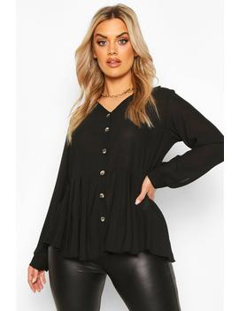 Plus Pleated Button Detail Peplum Shirt by Boohoo