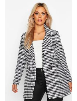 Plus Dogtooth Heavy Weight Blazer by Boohoo
