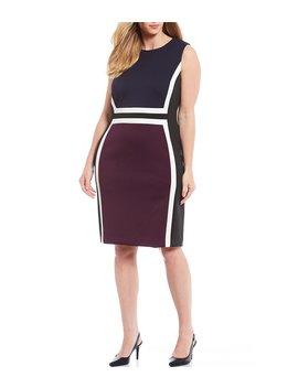 Plus Size Colorblock Sleeveless Sheath Dress by Calvin Klein