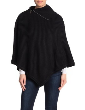 Rib Knit Zip Turtleneck Poncho by Michael Michael Kors
