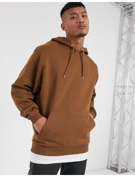 Asos Design   Felpa Oversize Con Cappuccio E Fondo Effetto T Shirt Marrone by Asos Design