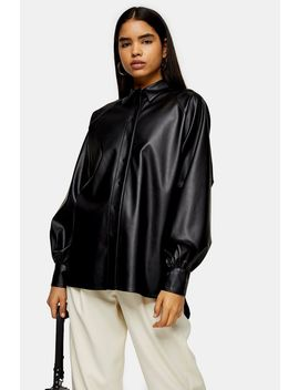 Black Oversized Pu Shirt by Topshop