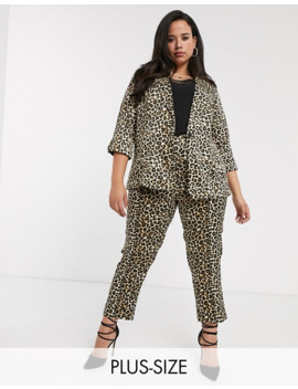 Simply Be Co Ord Tailored Trouser In Leopard Satin by Simply Be