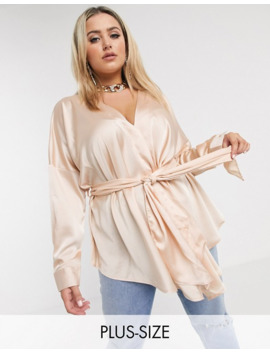 Missguided Plus Plunge Tie Waist Blouse In Blush by Missguided's
