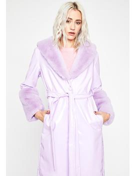 Lilac Trending Charm Vinyl Coat by Dolls Kill