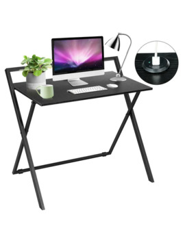 Gymax Folding Computer Desk Simple Pc Laptop Writing Table With Dual Usb Charger Black by Generic