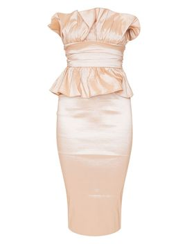 Champagne Bandeau Frill Detail Midi Dress by Prettylittlething