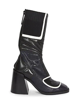 Bell Tejus Print Leather Boots by Chloé
