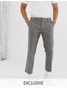 Noak Slim Fit Cropped Pant In Grey Grid Check by Noak
