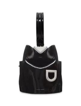 Josh One Shoulder Patent Leather Bucket Bag by Danse Lente