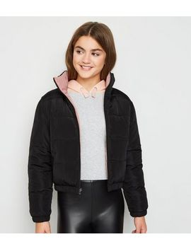 Girls Pink Reversible Puffer Jacket by New Look