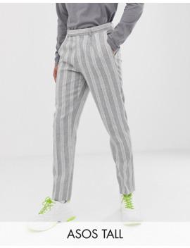 Asos Design Tall Skinny Crop Smart Pants In Grey Linen Stripe by Asos Design