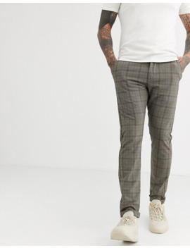 Jack & Jones Slim Fit Stretch Check Pants In Grey by Jack & Jones