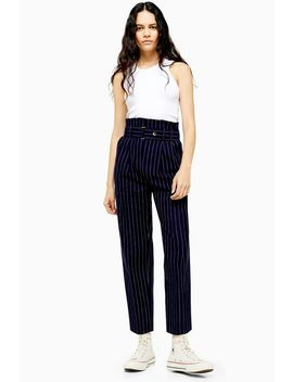Navy Pinstripe Tapered Pants by Topshop