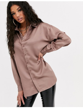 Missguided   Oversized Satinskjorte I Mink by Missguided's