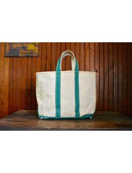 Vintage Ll Bean Boat & Tote Bag Medium Sized Heavy Duty Canvas Made In Usa Green Handles 80s by Etsy