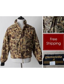 Vintage Gamehide Camoflage Camo Jacket Coat Hood   80's Retro Medium M Seattle Washington by Etsy