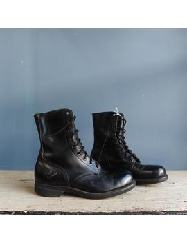 V Intage Black Leather Combat Boots by Etsy