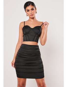 Tall Black Co Ord Satin Corset Bralette by Missguided