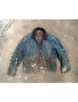 Vintage 1960s Sears Blanket Lined Super Distressed Dark Indigo Denim Zip Up Jean Jacket Size Large Levis Lee Work Chore Coat by Etsy
