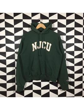 Vintage 90s Champion Njcu Spellout Printed Hoodie Champion Pullover Jumper Champion Green Colour M Size by Etsy