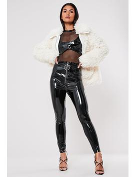 Petite Black Vinyl O Ring Cigarette Pants by Missguided