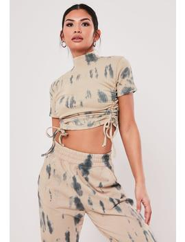 Sand Tie Dye High Neck Ruched Seam Crop Top by Missguided