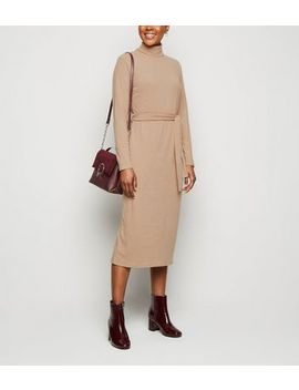 Stone Ribbed Roll Neck Belted Midi Dress by New Look
