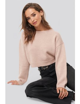 Cropped Round Neck Knitted Sweater Pink by Na Kd