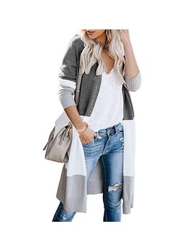 Winter Long Sleeve Knitted Kimono Striped Cardigan Sweater For Women Ladies Long Knit Open Front Baggy Cardigan Coat Tops Loose Knitted Sweater Outwear Cardigan Tops Size 12 26 by Sexy Dance