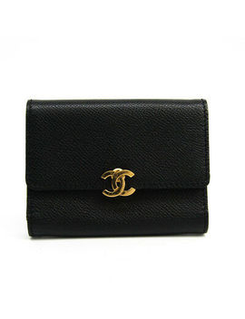 Chanel Leather Card Case Black Folding In Three Bf323244 by Chanel