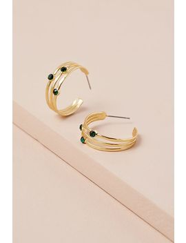 Stone Detailed Hoop Earrings by Anthropologie