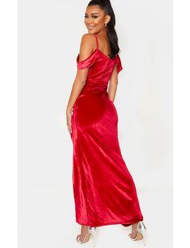 Red Velvet Bardot Cowl Maxi Dress by Prettylittlething