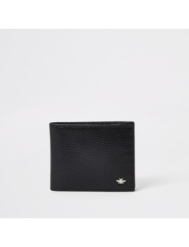 Black Leather Textured Foldout Wallet by River Island